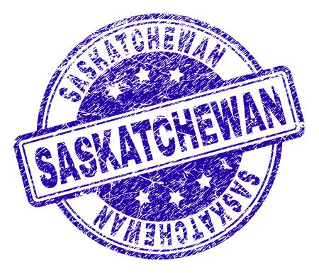 SASKATCHEWAN stamp seal watermark with grunge texture. Designed with rounded rectangles and circles. Blue vector rubber print of SASKATCHEWAN caption with corroded texture.