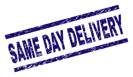 SAME DAY DELIVERY seal print with grunge style. Blue vector rubber print of SAME DAY DELIVERY title with corroded texture. Text title is placed between parallel lines.