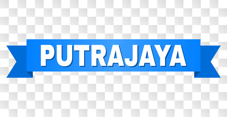 PUTRAJAYA text on a ribbon. Designed with white title and blue tape. Vector banner with PUTRAJAYA tag on a transparent background.