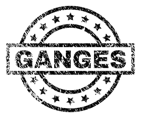 GANGES stamp seal watermark with distress style. Designed with rectangle, circles and stars. Black vector rubber print of GANGES caption with grunge texture. Illustration