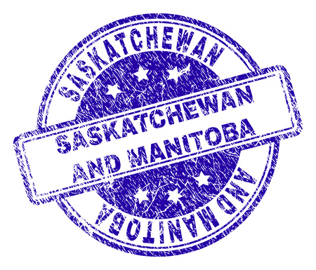 SASKATCHEWAN AND MANITOBA stamp seal watermark with grunge texture. Designed with rounded rectangles and circles. Blue vector rubber print of SASKATCHEWAN AND MANITOBA text with grunge texture.