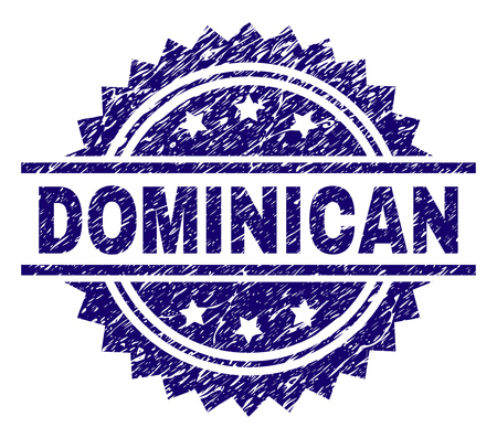 DOMINICAN stamp seal watermark with distress style. Blue vector rubber print of DOMINICAN label with corroded texture. 向量圖像