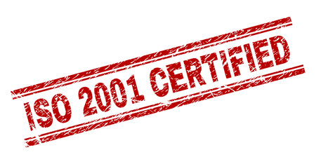 ISO 2001 CERTIFIED seal print with distress effect. Red vector rubber print of ISO 2001 CERTIFIED caption with grunge texture. Text caption is placed between double parallel lines.