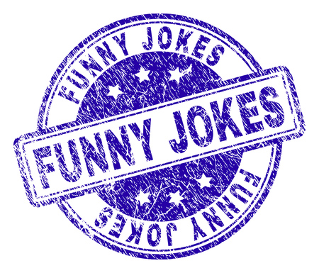 FUNNY JOKES stamp seal imprint with grunge texture. Designed with rounded rectangles and circles. Blue vector rubber print of FUNNY JOKES tag with dust texture.