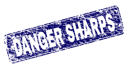 DANGER SHARPS stamp seal print with distress texture. Seal shape is a rounded rectangle with frame. Blue vector rubber print of DANGER SHARPS tag with dirty texture.
