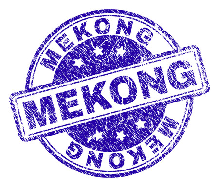 MEKONG stamp seal watermark with distress texture. Designed with rounded rectangles and circles. Blue vector rubber print of MEKONG tag with dust texture. Foto de archivo - 112367437