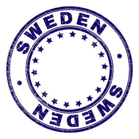 SWEDEN stamp seal watermark with distress texture. Designed with circles and stars. Blue vector rubber print of SWEDEN text with grunge texture.