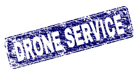 DRONE SERVICE stamp seal print with distress style. Seal shape is a rounded rectangle with frame. Blue vector rubber print of DRONE SERVICE label with grunge style.