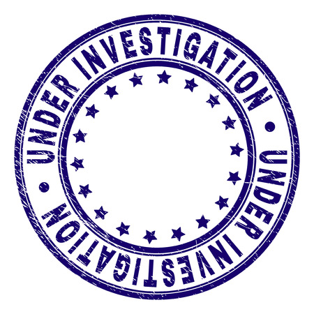 UNDER INVESTIGATION stamp seal imprint with grunge texture. Designed with circles and stars. Blue vector rubber print of UNDER INVESTIGATION title with retro texture.  イラスト・ベクター素材