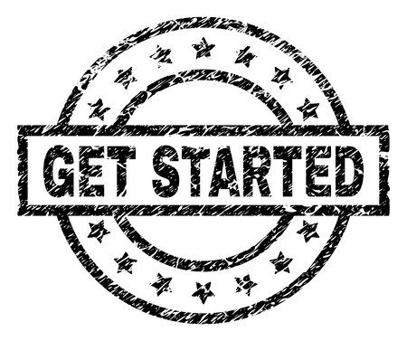 GET STARTED stamp seal watermark with distress style. Designed with rectangle, circles and stars. Black vector rubber print of GET STARTED tag with dust texture. Vektorgrafik
