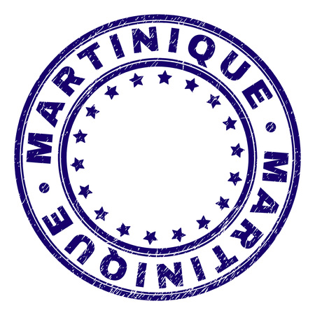 MARTINIQUE stamp seal watermark with grunge texture. Designed with circles and stars. Blue vector rubber print of MARTINIQUE label with grunge texture.
