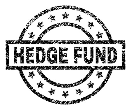 HEDGE FUND stamp seal watermark with distress style. Designed with rectangle, circles and stars. Black vector rubber print of HEDGE FUND tag with grunge texture.