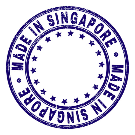 MADE IN SINGAPORE stamp seal imprint with grunge texture. Designed with circles and stars. Blue vector rubber print of MADE IN SINGAPORE tag with dirty texture. Illustration