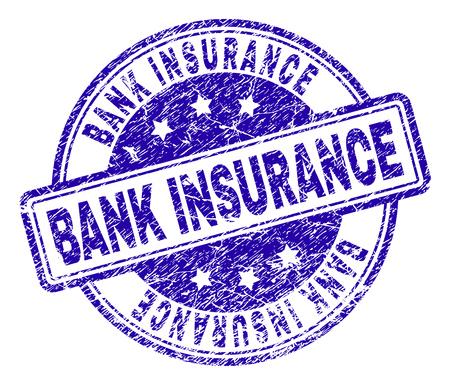 Impresión de sello de sello de seguro bancario con textura de socorro. Diseñado con rectángulos y círculos redondeados. Impresión de goma azul vector de etiqueta de SEGURO BANCARIO con textura retro. Ilustración de vector