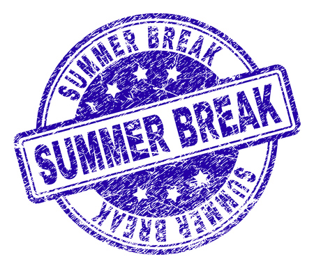 SUMMER BREAK stamp seal imprint with grunge texture. Designed with rounded rectangles and circles. Blue vector rubber print of SUMMER BREAK label with grunge texture.