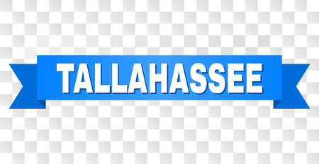 TALLAHASSEE text on a ribbon. Designed with white title and blue tape. Vector banner with TALLAHASSEE tag on a transparent background.