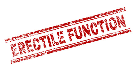 ERECTILE FUNCTION seal imprint with corroded texture. Red vector rubber print of ERECTILE FUNCTION label with corroded texture. Text title is placed between double parallel lines.