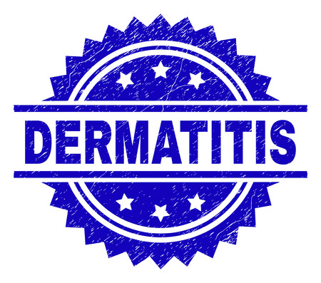 DERMATITIS stamp seal watermark with distress style. Blue vector rubber print of DERMATITIS label with grunge texture.