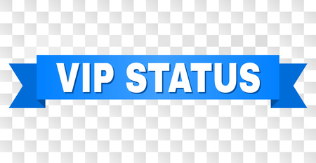 VIP STATUS text on a ribbon. Designed with white caption and blue tape. Vector banner with VIP STATUS tag on a transparent background.