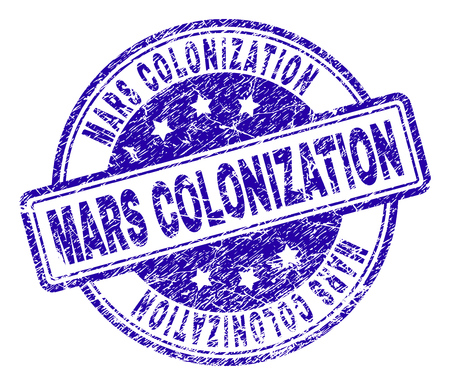 MARS COLONIZATION stamp seal watermark with grunge texture. Designed with rounded rectangles and circles. Blue vector rubber print of MARS COLONIZATION text with dust texture.