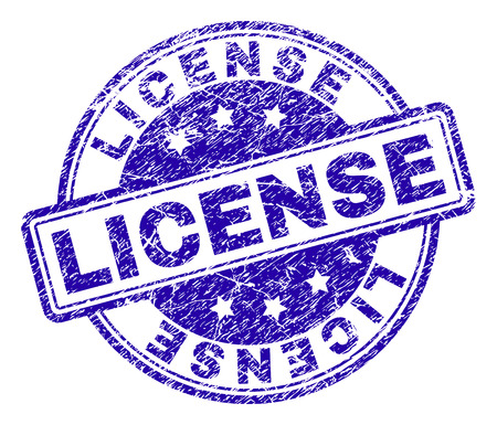 LICENSE stamp seal watermark with distress texture. Designed with rounded rectangles and circles. Blue vector rubber print of LICENSE label with dirty texture.