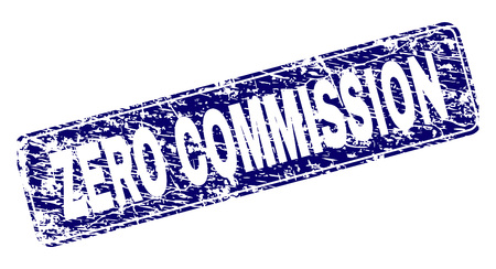 ZERO COMMISSION stamp seal watermark with grunge style. Seal shape is a rounded rectangle with frame. Blue vector rubber print of ZERO COMMISSION tag with grunge style.