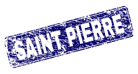 SAINT PIERRE stamp seal print with distress style. Seal shape is a rounded rectangle with frame. Blue vector rubber print of SAINT PIERRE title with corroded style.