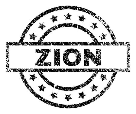 ZION stamp seal watermark with distress style. Designed with rectangle, circles and stars. Black vector rubber print of ZION title with scratched texture.