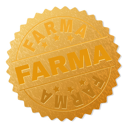 FARMA gold stamp seal. Vector gold medal with FARMA text. Text labels are placed between parallel lines and on circle. Golden surface has metallic structure. Ilustrace