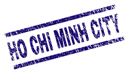 HO CHI MINH CITY seal print with grunge style. Blue vector rubber print of HO CHI MINH CITY text with grunge texture. Text tag is placed between parallel lines.