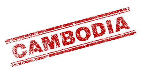 CAMBODIA seal stamp with corroded texture. Red vector rubber print of CAMBODIA title with corroded texture. Text title is placed between double parallel lines. Иллюстрация