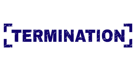 TERMINATION caption seal watermark with grunge texture. Text title is placed between corners. Blue vector rubber print of TERMINATION with grunge texture. Illustration