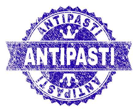 ANTIPASTI rosette stamp seal watermark with grunge texture. Designed with round rosette, ribbon and small crowns. Blue vector rubber watermark of ANTIPASTI label with grunge style.