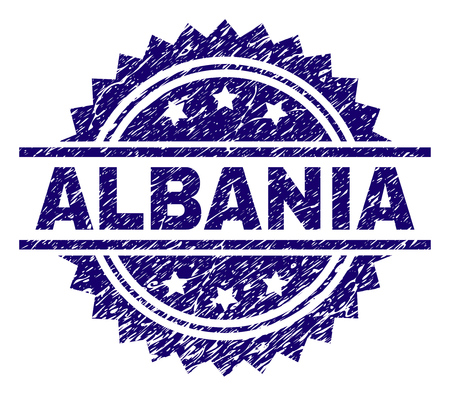 ALBANIA stamp seal watermark with distress style. Blue vector rubber print of ALBANIA label with unclean texture.