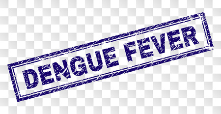 DENGUE FEVER stamp seal print with scratched style and double framed rectangle shape. Stamp is placed on a transparent background. Blue vector rubber print of DENGUE FEVER tag with corroded texture.