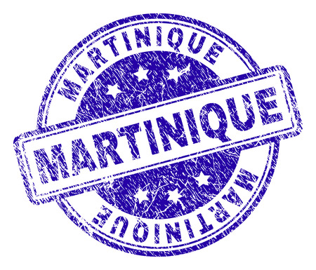 MARTINIQUE stamp seal imprint with distress texture. Designed with rounded rectangles and circles. Blue vector rubber print of MARTINIQUE text with unclean texture.