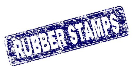 RUBBER STAMPS stamp seal print with distress style. Seal shape is a rounded rectangle with frame. Blue vector rubber print of RUBBER STAMPS title with dust style. Ilustração