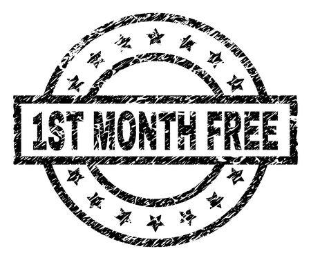 1ST MONTH FREE stamp seal watermark with distress style. Designed with rectangle, circles and stars. Black vector rubber print of 1ST MONTH FREE text with unclean texture. Banque d'images - 127220692