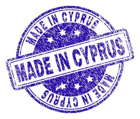 MADE IN CYPRUS stamp seal imprint with grunge texture. Designed with rounded rectangles and circles. Blue vector rubber print of MADE IN CYPRUS caption with grunge texture.