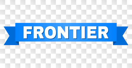 FRONTIER text on a ribbon. Designed with white title and blue stripe. Vector banner with FRONTIER tag on a transparent background. Ilustrace