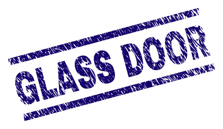 GLASS DOOR seal print with distress style. Blue vector rubber print of GLASS DOOR title with dirty texture. Text title is placed between parallel lines.