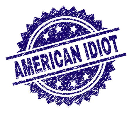 AMERICAN IDIOT stamp seal watermark with distress style. Blue vector rubber print of AMERICAN IDIOT tag with corroded texture.