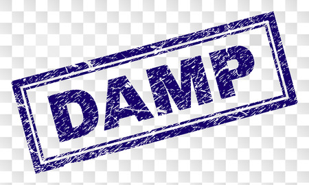 DAMP stamp seal print with rubber print style and double framed rectangle shape. Stamp is placed on a transparent background. Blue vector rubber print of DAMP tag with scratched texture.
