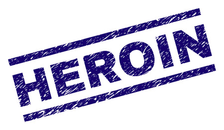 HEROIN seal print with distress style. Blue vector rubber print of HEROIN text with dirty texture. Text caption is placed between parallel lines.