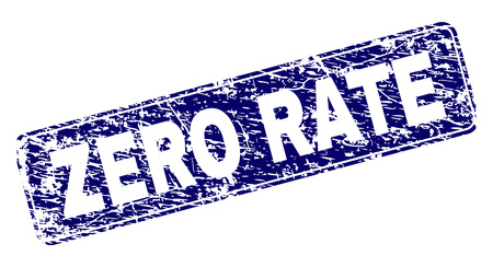 ZERO RATE stamp seal print with grunge style. Seal shape is a rounded rectangle with frame. Blue vector rubber print of ZERO RATE title with unclean style.