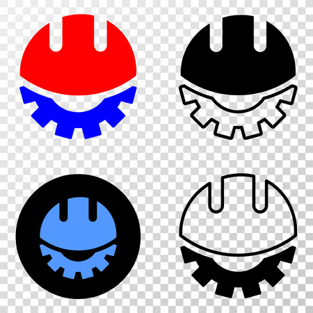 Geographic composition of dotted development helmet and grunge stamp. Mosaic vector development helmet composed with square dots and gradient from blue to red color.