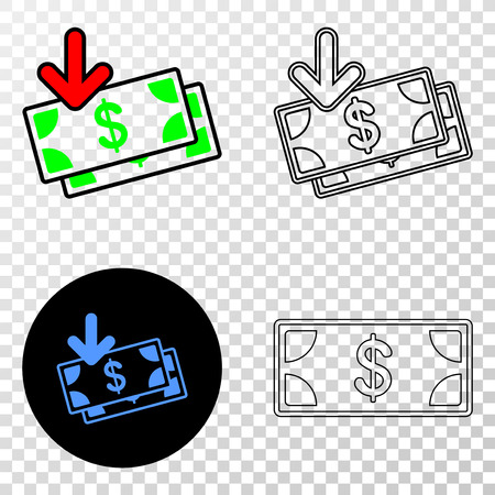 Geographic collage of dotted income banknotes and grunge stamp. Mosaic vector income banknotes designed with square dots and gradient from blue to red color. Flat design for political posters. Ilustrace