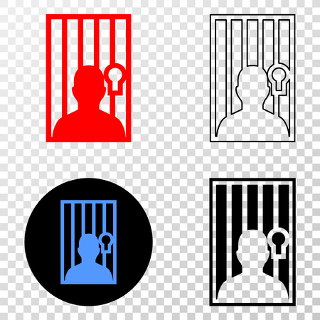Geographic collage of dotted jailed person and grunge seal stamp. Mosaic vector jailed person created with square dots and gradient from blue to red color. Flat design for patriotic posters.