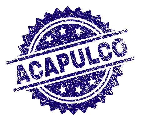 ACAPULCO stamp seal watermark with distress style. Blue vector rubber print of ACAPULCO title with retro texture.