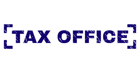 TAX OFFICE text seal stamp with corroded texture. Text label is placed inside corners. Blue vector rubber print of TAX OFFICE with unclean texture.